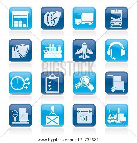 Logistic, cargo and transportation icons