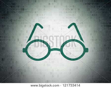 Studying concept: Glasses on Digital Paper background