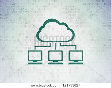 Cloud technology concept: Cloud Network on Digital Paper background