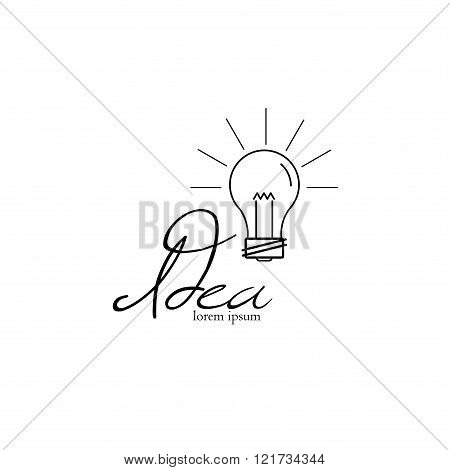 Light bulb logo, lamp shine creative innovation sign