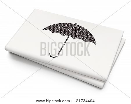 Security concept: Umbrella on Blank Newspaper background