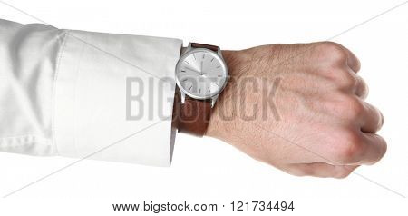 Modern watch on a businessman's wrist isolated on white