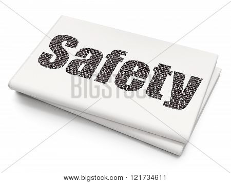 Privacy concept: Safety on Blank Newspaper background