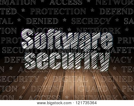Security concept: Software Security in grunge dark room