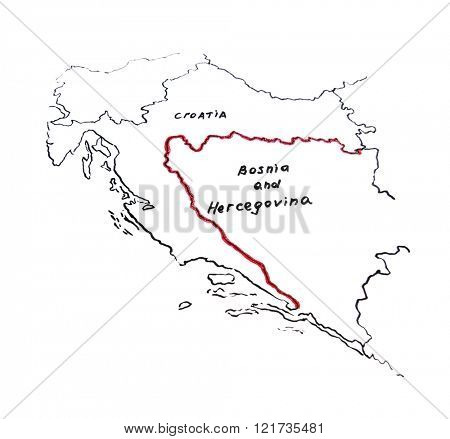 Map of Croatia and Bosnia and Herzegovina - territorial dispute concept