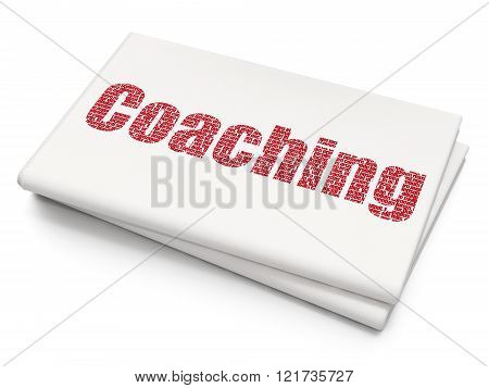 Learning concept: Coaching on Blank Newspaper background