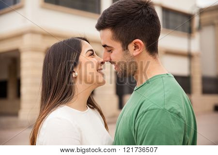 Cute young couple about to kiss