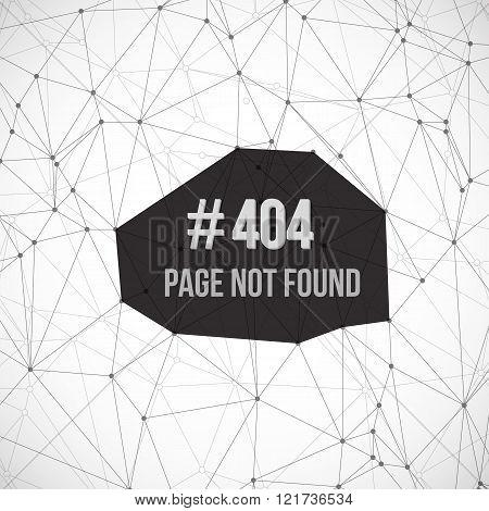 Error 404 Futuristic Wireframe Vector Background. Page Not Found