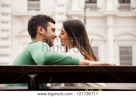 Beautiful Couple About To Kiss