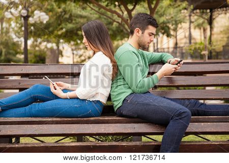 Young couple on a bad date