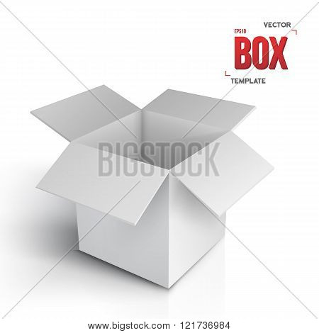 Realistic Vector Open Box. Vector EPS10 Paper Box Isolated on Wh