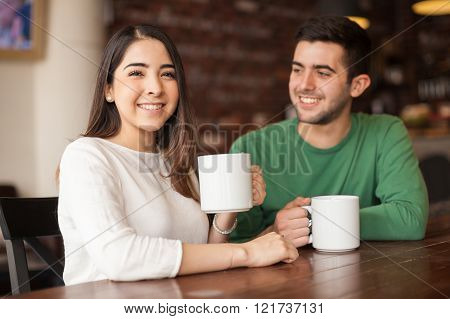 Pretty Girl Having Coffee With A Guy