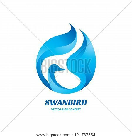 Swan bird - vector logo concept illustration. Swan logo sign. Bird logo sign. Beauty logo sign.
