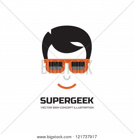 Super geek - vector logo concept illustration. Human character logo sign. Man's face with glasses.