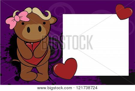cute bull girl valentine background card