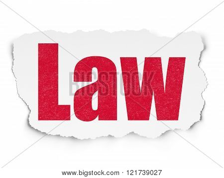Law concept: Law on Torn Paper background