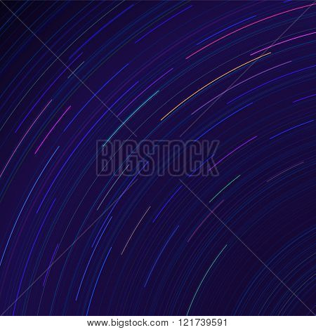 Vector star trails. Long exposure effect of night sky in motion. Space galaxy lights trace. Astrophotography wallpaper.