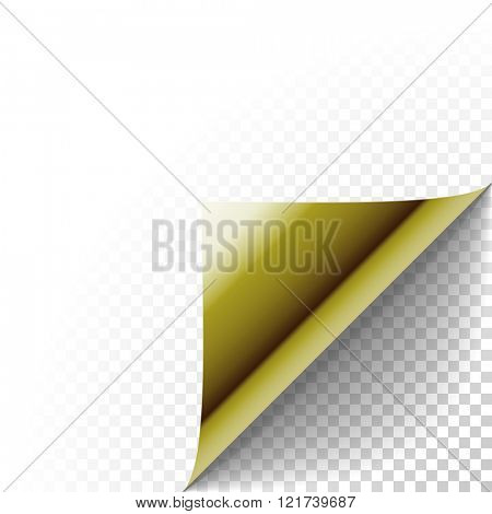 Paper corner peel. Gold metallic page curled fold with shadow. Blank sheet of folded sticky paper note. Vector illustration of sticker peel element for advertising message on transparent background.