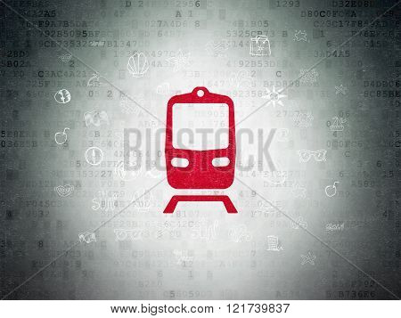Vacation concept: Train on Digital Paper background
