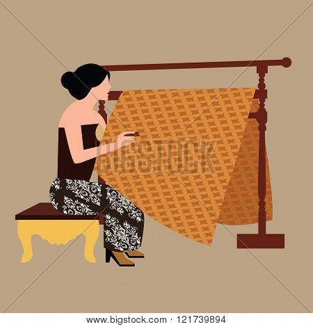 javanese woman girl drawing create batikholding canting traditional indonesia clothes fabric textile