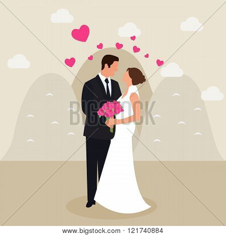 man woman couple married see eyes wedding dress love heart flower bucket in hand flat vector drawing