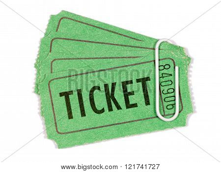 Green admission or raffle tickets with white paperclip