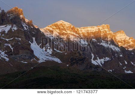 Triptico Peak (2612 m.), Pabellon Peak (2702 m.), Rico Peak (2704 m.) and Retona Peak (2721 m.), Partacua Mountains, Tena Valley, Pyrenees, Huesca, Aragon, Spain.