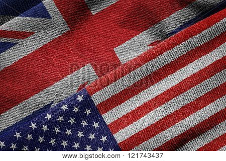 Flags Of Usa And Britain On Grunge Texture