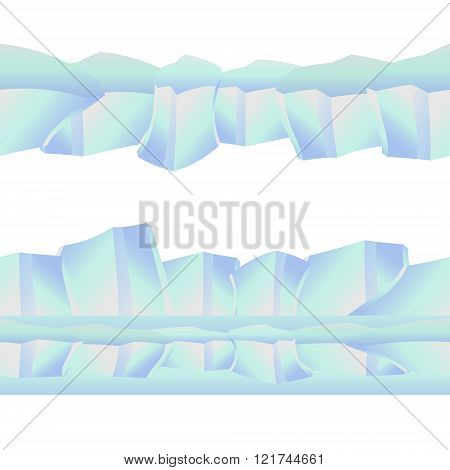 Seamless iceberg, isolated ice.