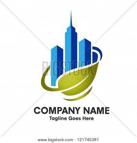 elegant green city property skyline logo cocept