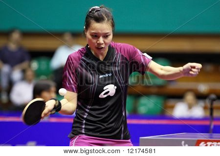 KUALA LUMPUR, MALAYSIA - SEPTEMBER 24: Wu Jiaduo, Germany (ITTF World Rank 11) anticipates a return hit at the Volkswagen 2010 Women's World Cup in table tennis on September 24, 2010 in Kuala Lumpur.