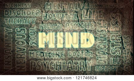 medical theme mind tags cloud. concrete textured