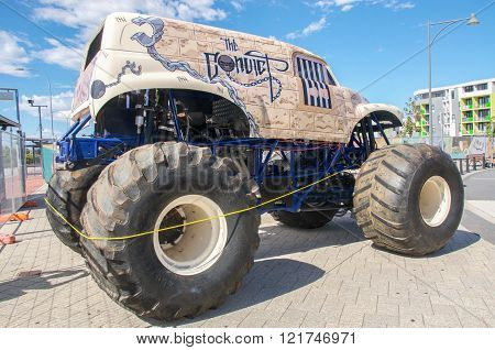 COCKBURN CENTRAL,WA,AUSTRALIA-MARCH 13,2016: Monster truck on display at the Cockburn Central Billy Cart Festival in Cockburn Central, Western Australia.