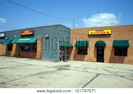 PLAINFIELD, ILLINOIS / UNITED STATES - JULY 10, 2015: One may purchase Filipino food at the Manila Grocery and Filipino Kitchen in Plainfield.