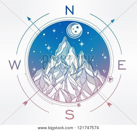 Mountain wind rose vector illustration.