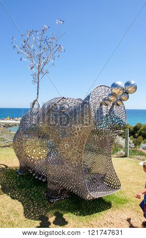 COTTESLOE,WA,AUSTRALIA-MARCH 12,2016: Metal hippo sculpture at the