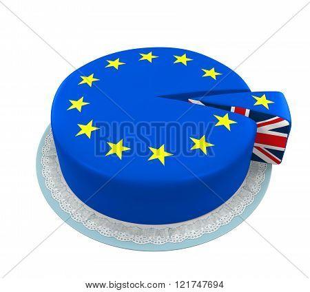 Great Britain Flag as Piece of European Union Cake
