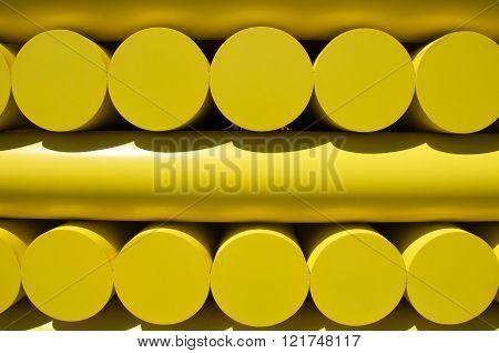 COTTESLOE,WA,AUSTRALIA-MARCH 12,2016: Closeup of yellow geometric sculpture at the
