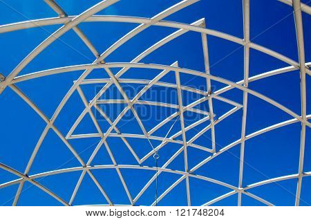 COTTESLOE,WA,AUSTRALIA-MARCH 12,2016: Detail of white geometric star pattern sculpture with a blue sky at the
