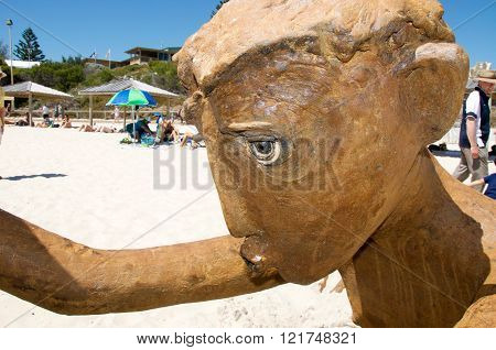 COTTESLOE,WA,AUSTRALIA-MARCH 12,2016:  Closeup detail of human representational sculpture at the interactive free public arts festival with tourists at