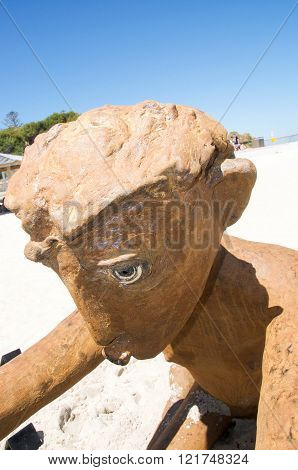 COTTESLOE,WA,AUSTRALIA-MARCH 12,2016:  Detail of stone human figure sculpture at the interactive free public arts festival