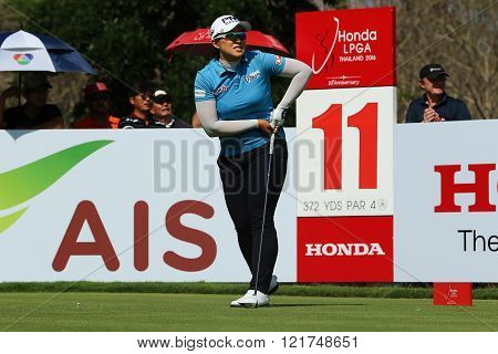 PATTAYA THAILAND - February 27 2016: Amy Yang of South Korea plays the shot of the 2016 LPGA Thailand at Siam Country Club in Chonburi.