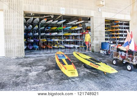 COTTESLOE,WA,AUSTRALIA-MARCH 12,2016: Surf life-saving rescue equipment storage in the Indiana Tea House with rescue boards,racing skis and lifeguard at Cottesloe Beach in Cottesloe, Western Australia.
