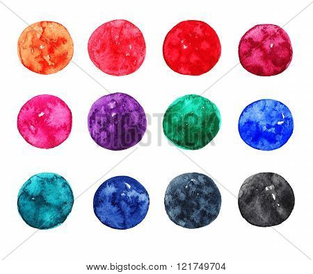 Set of colorful watercolor circles on white background