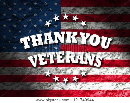 thank you veterans card with american flag grunge style background