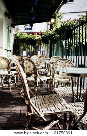 Typical Outdoor Cafe in Montmartre, Paris, France
