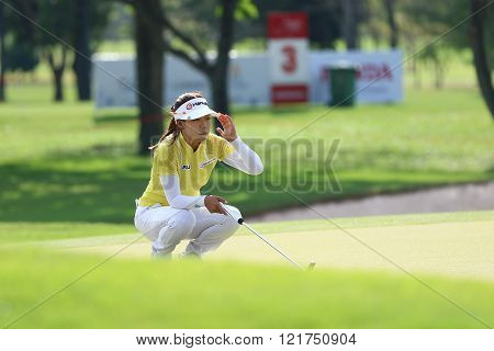 PATTAYA THAILAND - February 27 2016:Jenny Shin of USA plays the shot of the 2016 LPGA Thailand at Siam Country Club in Chonburi.