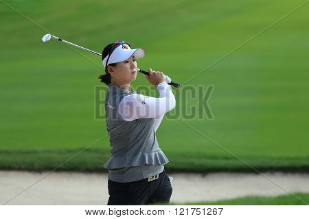 PATTAYA THAILAND - February 27 2016: Q Baek of Japan plays the shot of the 2016 LPGA Thailand at Siam Country Club in Chonburi.