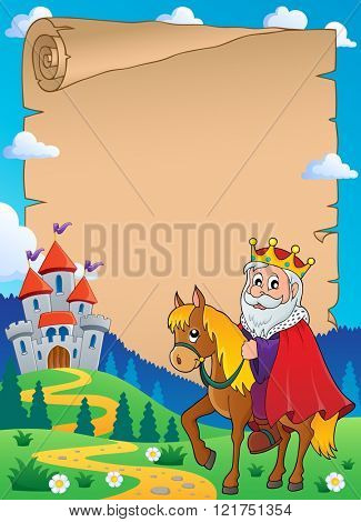 Parchment with king on horse theme 1 - eps10 vector illustration.