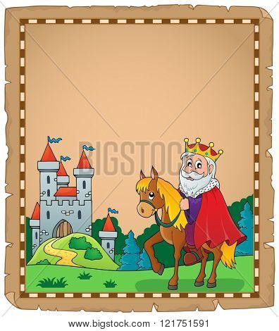 Parchment with king on horse theme 2 - eps10 vector illustration.